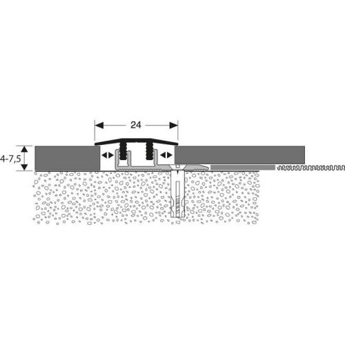 SEUIL ALU INCOLORE SYMETRIQUE CLIP L.V.T., LONG. 0.90M