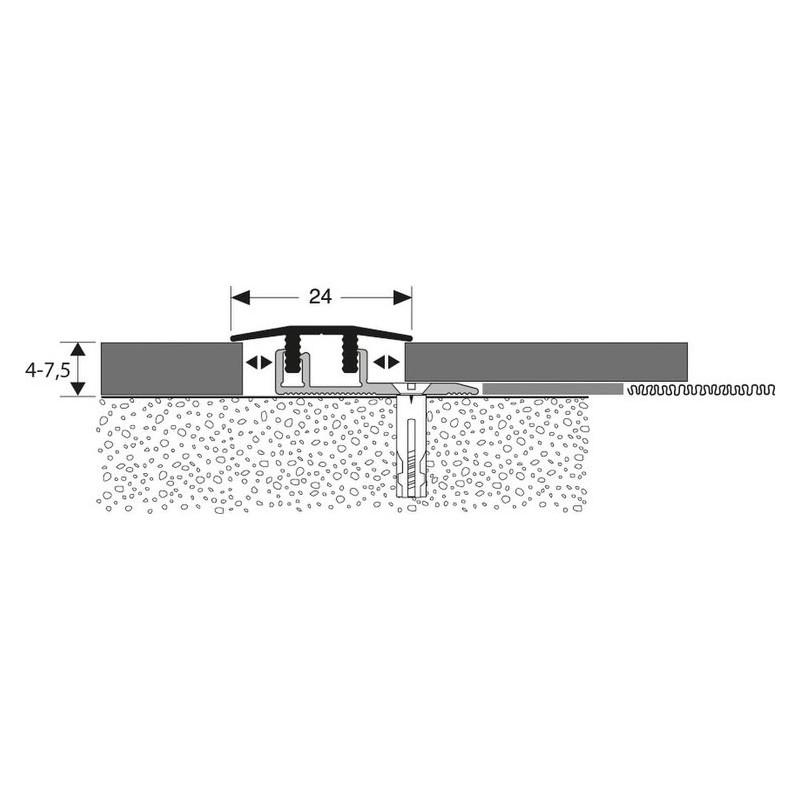 SEUIL ALU TITANE SYMETRIQUE CLIP L.V.T., LONG. 0.90M