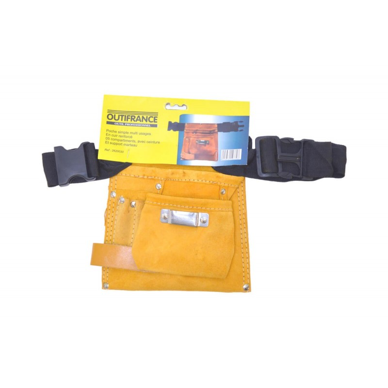 PORTE OUTILS 5 POCHES CUIR